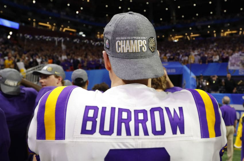 ATLANTA, GEORGIA - DECEMBER 28: Quarterback Joe Burrow #9 of the LSU Tigers walks off the field after winning the Chick-fil-A Peach Bowl 28-63 over the Oklahoma Sooners at Mercedes-Benz Stadium on December 28, 2019 in Atlanta, Georgia. (Photo by Kevin C. Cox/Getty Images)