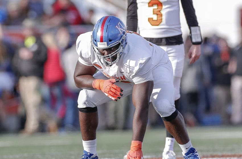 MOBILE, AL - JANUARY 25: Offensive Lineman Hakeem Adeniji #78 from Kansas of the North Team during the 2020 Resse's Senior Bowl at Ladd-Peebles Stadium on January 25, 2020 in Mobile, Alabama. The North Team defeated the South Team 34 to 17. (Photo by Don Juan Moore/Getty Images)