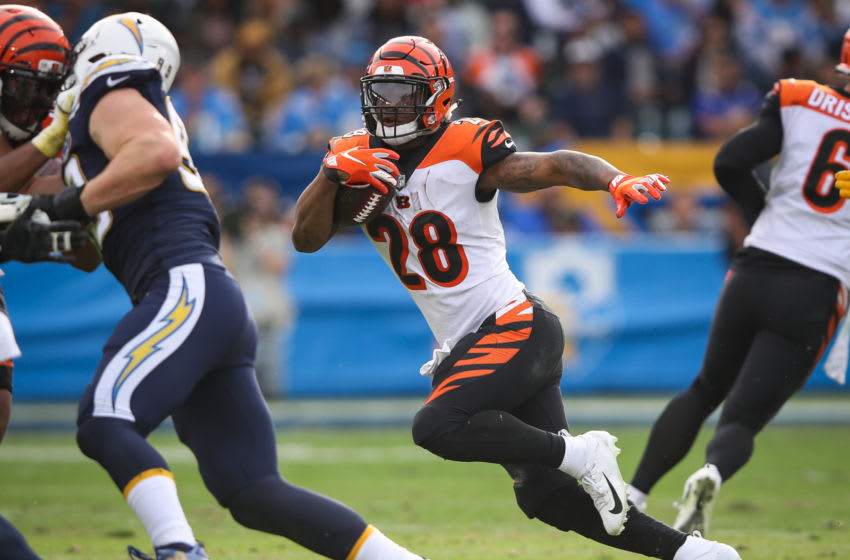 CARSON, CA - DECEMBER 09: Running back Joe Mixon #28 of the Cincinnati Bengals runs in the second quarter against the Los Angeles Chargers at StubHub Center on December 9, 2018 in Carson, California. (Photo by Sean M. Haffey/Getty Images)