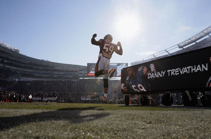 CHICAGO, IL - DECEMBER 16: Danny Trevathan #59 of the Chicago Bears runs onto the field during player introductions before a game against the Green Bay Packers at Soldier Field on December 16, 2018 in Chicago, Illinois. (Photo by Jonathan Daniel/Getty Images)