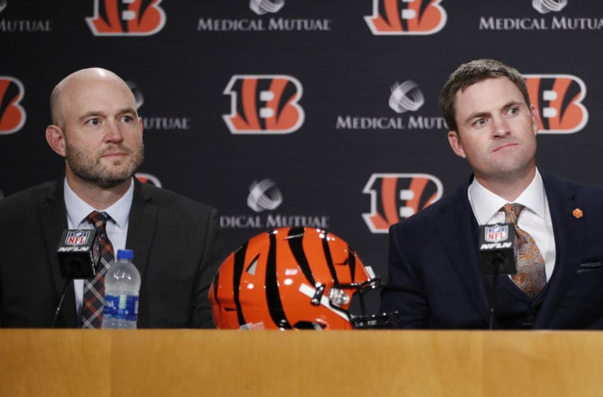 CINCINNATI, OH - FEBRUARY 05: Zac Taylor (R) looks on along with Cincinnati Bengals director of player personnel Duke Tobin after being introduced as the new head coach for the Bengals at Paul Brown Stadium on February 5, 2019 in Cincinnati, Ohio. (Photo by Joe Robbins/Getty Images)