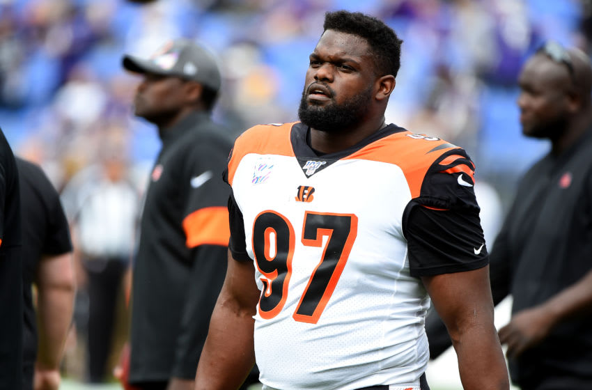 BALTIMORE, MD - OCTOBER 13: Geno Atkins #97 of the Cincinnati Bengals looks on during the first half against the Baltimore Ravens at M&T Bank Stadium on October 13, 2019 in Baltimore, Maryland. (Photo by Will Newton/Getty Images)