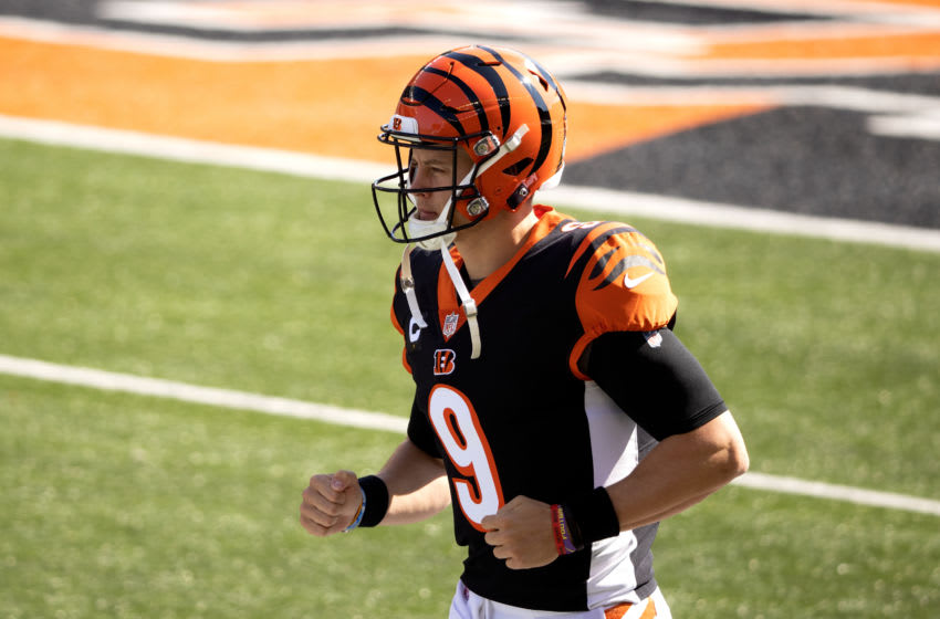 CINCINNATI, OH - OCTOBER 4: Joe Burrow #9 of the Cincinnati Bengals runs out onto the field prior to the start of the game against the Jacksonville Jaguars at Paul Brown Stadium on October 4, 2020 in Cincinnati, Ohio. (Photo by Kirk Irwin/Getty Images)