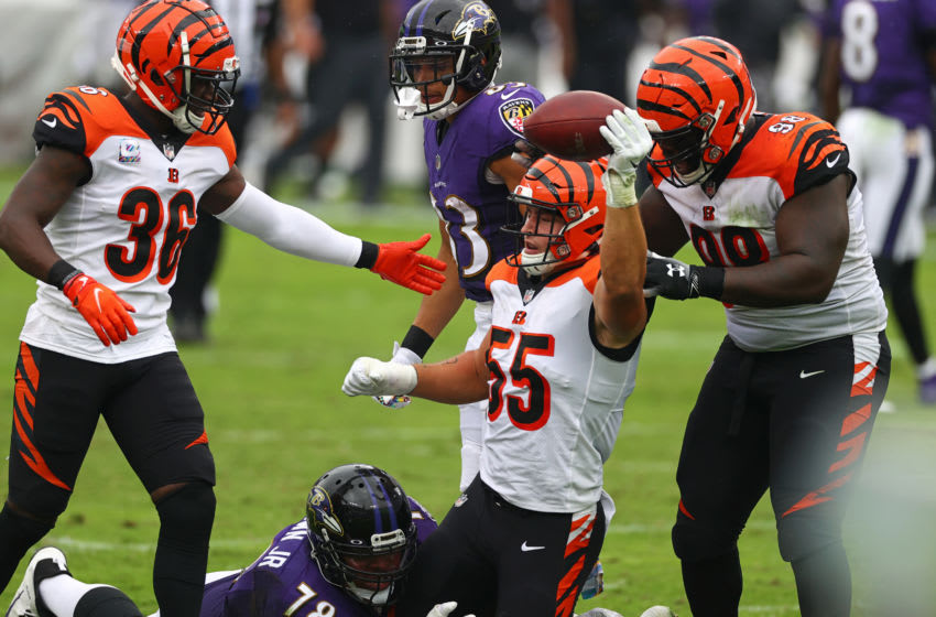 BALTIMORE, MARYLAND - OCTOBER 11: Logan Wilson #55 of the Cincinnati Bengals celebrates after an interception during the first half against the Baltimore Ravens at M&T Bank Stadium on October 11, 2020 in Baltimore, Maryland. (Photo by Todd Olszewski/Getty Images)