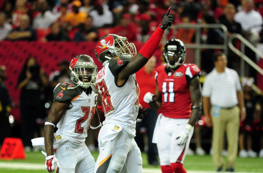 ATLANTA, GA - NOVEMBER 01: Kwon Alexander #58 of the Tampa Bay Buccaneers celebrates an interception during the first half against the Atlanta Falcons at the Georgia Dome on November 1, 2015 in Atlanta, Georgia. (Photo by Scott Cunningham/Getty Images)