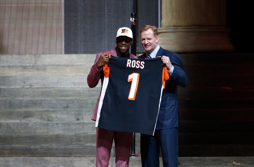 PHILADELPHIA, PA - APRIL 27: (L-R) John Ross of Washington poses with Commissioner of the National Football League Roger Goodell after being picked