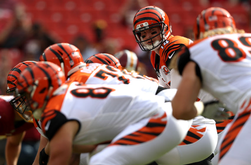 LANDOVER, MD - AUGUST 27: Quarterback Andy Dalton #14 of the Cincinnati Bengals looks on from the line of scrimmage against the Washington Redskins in the first half during a preseason game at FedExField on August 27, 2017 in Landover, Maryland. (Photo by Patrick Smith/Getty Images)