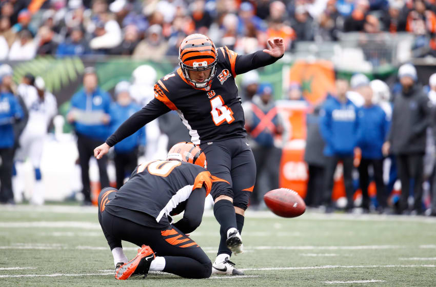 CINCINNATI, OH - OCTOBER 29: Randy Bullock #4 of the Cincinnati Bengals kicks a field goal against the Indianapolis Colts at Paul Brown Stadium on October 29, 2017 in Cincinnati, Ohio. (Photo by Andy Lyons/Getty Images)