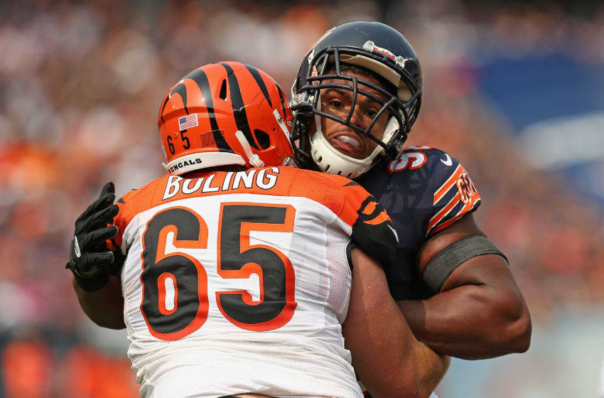 CHICAGO, IL - SEPTEMBER 08: Corey Wootton #98 of the Chicago Bears rushes against Clint Boling #65 of the Cincinnati Bengals at Soldier Field on September 8, 2013 in Chicago, Illinois. The Bears defeated the Bengals 24-21. (Photo by Jonathan Daniel/Getty Images)
