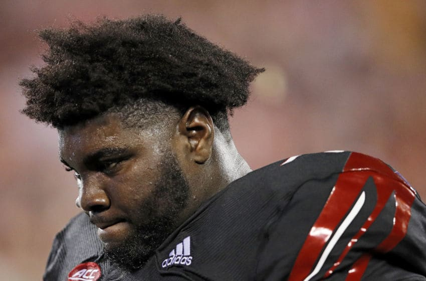 LOUISVILLE, KY - OCTOBER 05: Mekhi Becton #73 of the Louisville Cardinals reacts in the second half of the game against the Georgia Tech Yellow Jackets at Cardinal Stadium on October 5, 2018 in Louisville, Kentucky. (Photo by Joe Robbins/Getty Images)