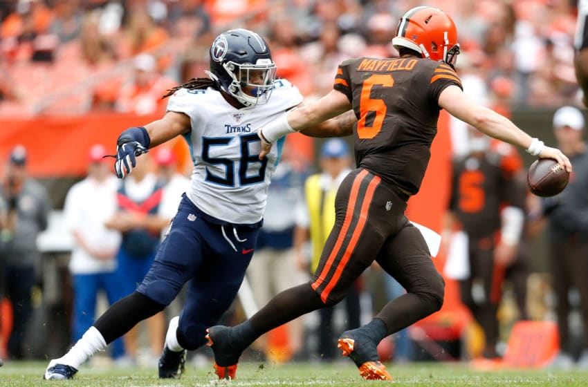 CLEVELAND, OH - SEPTEMBER 8: Sharif Finch #56 of the Tennessee Titans attempts to tackle Baker Mayfield #6 of the Cleveland Browns during the fourth quarter at FirstEnergy Stadium on September 8, 2019 in Cleveland, Ohio. Tennessee defeated Cleveland 43-13. (Photo by Kirk Irwin/Getty Images)