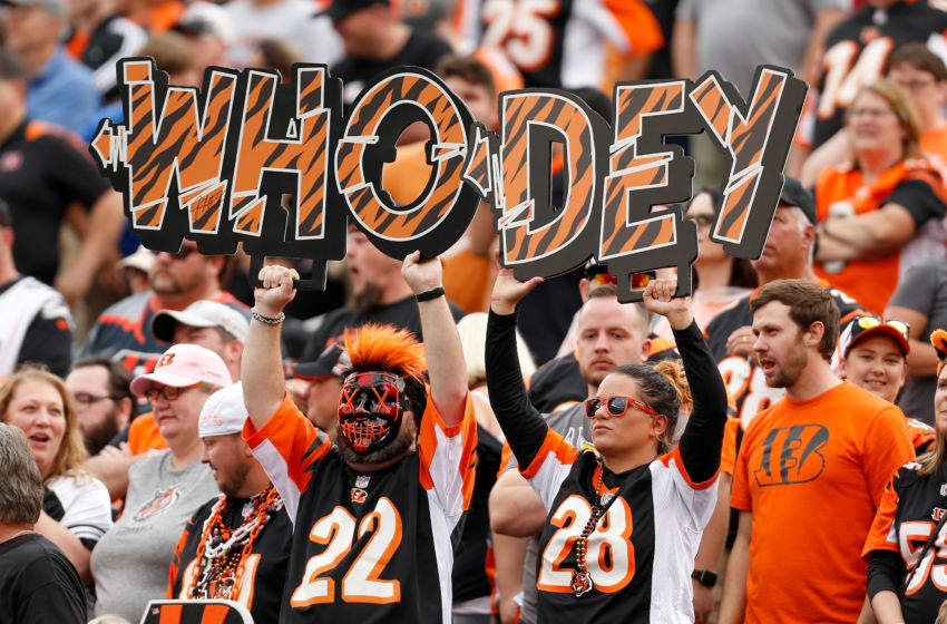 CINCINNATI, OH - OCTOBER 6: Cincinnati Bengals fans cheer on their team during the game against the Arizona Cardinals at Paul Brown Stadium on October 6, 2019 in Cincinnati, Ohio. Arizona defeated Cincinnati 26-23. (Photo by Kirk Irwin/Getty Images)