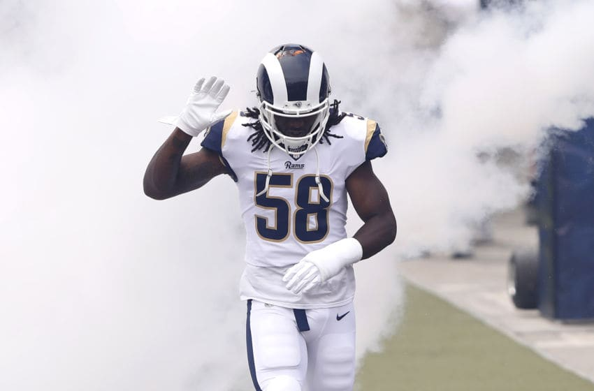LOS ANGELES, CALIFORNIA - SEPTEMBER 15: Cory Littleton #58 of the Los Angeles Rams runs onto the field before the game against the New Orleans Saints at Los Angeles Memorial Coliseum on September 15, 2019 in Los Angeles, California. (Photo by Sean M. Haffey/Getty Images)