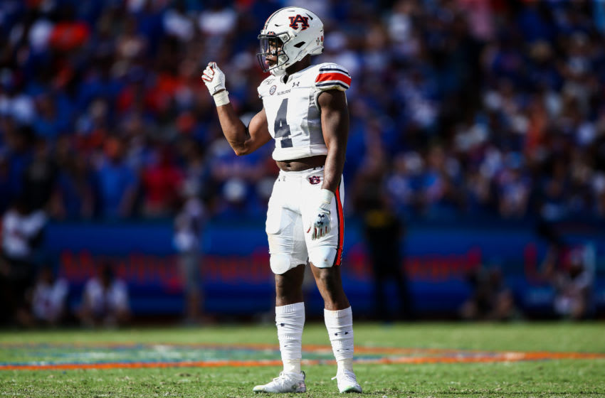 GAINESVILLE, FLORIDA - OCTOBER 05: Noah Igbinoghene #4 of the Auburn Tigers looks on during the third quarter of a game against the Florida Gators at Ben Hill Griffin Stadium on October 05, 2019 in Gainesville, Florida. (Photo by James Gilbert/Getty Images)