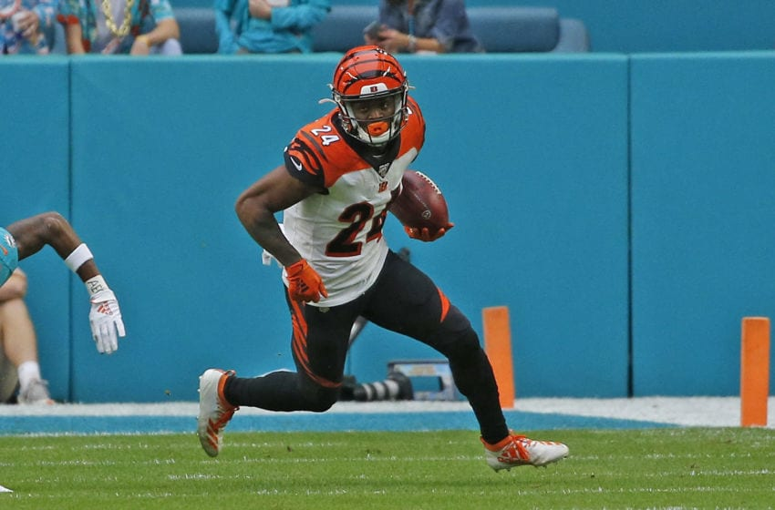 MIAMI GARDENS, FL - DECEMBER 22: Darius Phillips #24 of the Cincinnati Bengals runs with the ball against the Miami Dolphins during an NFL game on December 22, 2019 at Hard Rock Stadium in Miami Gardens, Florida. The Dolphins defeated the Bengals 38-35 in overtime. (Photo by Joel Auerbach/Getty Images)