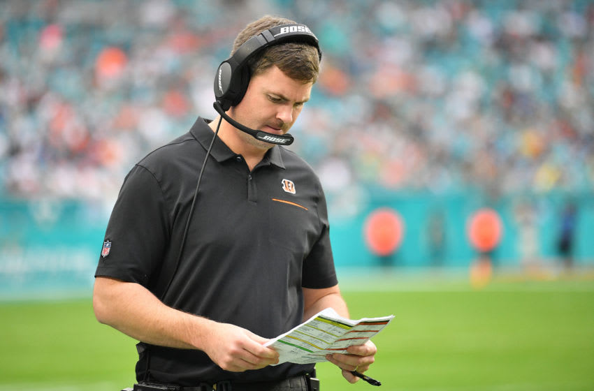 MIAMI, FLORIDA - DECEMBER 22: Head Coach Zac Taylor of the Cincinnati Bengals looks on during the game against the Miami Dolphins in the third quarter at Hard Rock Stadium on December 22, 2019 in Miami, Florida. (Photo by Mark Brown/Getty Images)