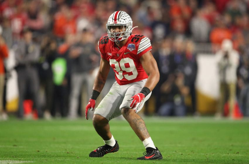 GLENDALE, ARIZONA - DECEMBER 28: Linebacker Malik Harrison #39 of the Ohio State Buckeyes in action during the PlayStation Fiesta Bowl against the Clemson Tigers at State Farm Stadium on December 28, 2019 in Glendale, Arizona. The Tigers defeated the Buckeyes 29-23. (Photo by Christian Petersen/Getty Images)