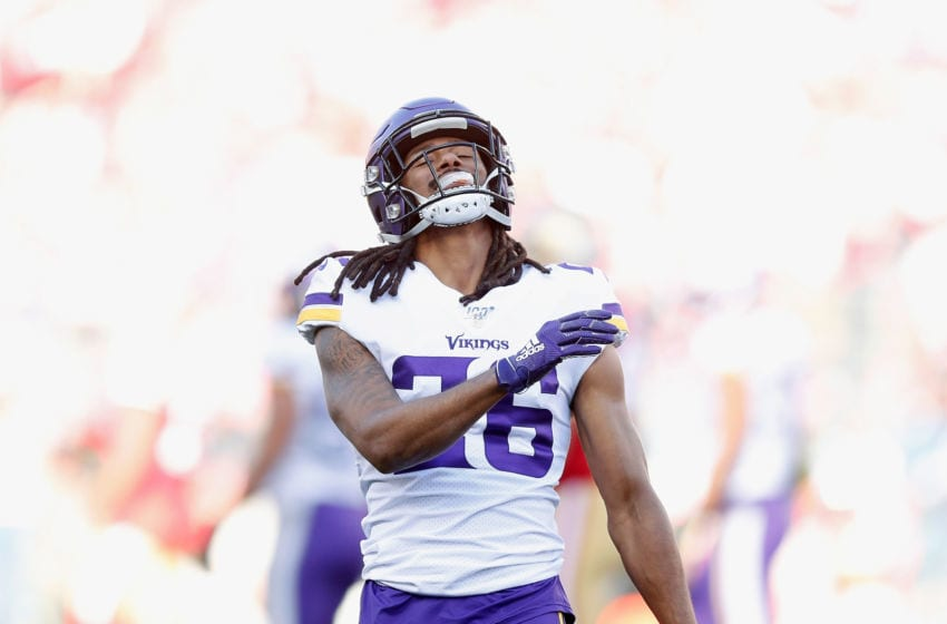 SANTA CLARA, CALIFORNIA - JANUARY 11: Trae Waynes #26 of the Minnesota Vikings reacts after a play in the first quarter of the NFC Divisional Round Playoff game against the San Francisco 49ers at Levi's Stadium on January 11, 2020 in Santa Clara, California. (Photo by Lachlan Cunningham/Getty Images)