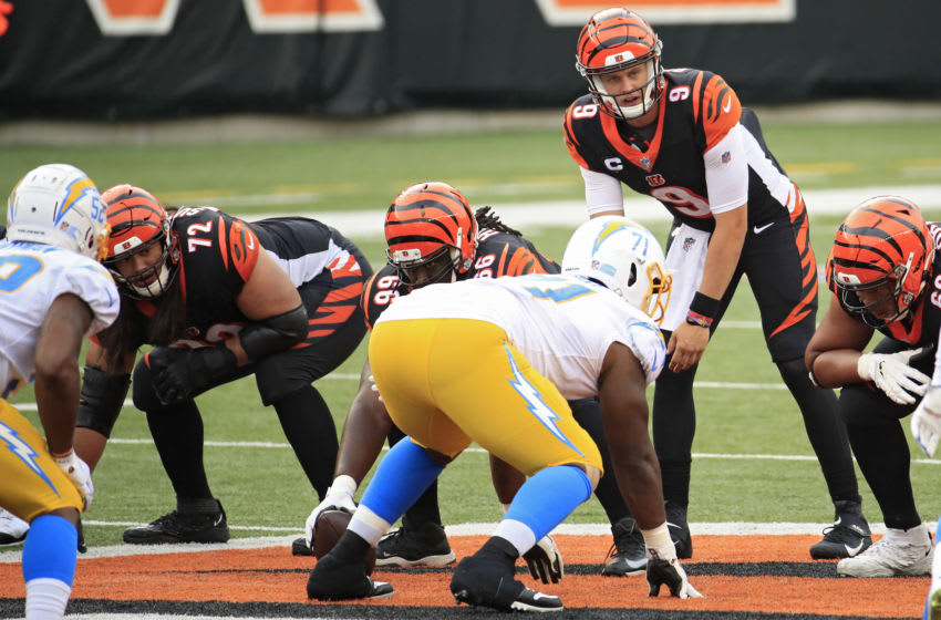 CINCINNATI, OHIO - SEPTEMBER 13: Quarterback Joe Burrow #9 of the Cincinnati Bengals stands behind the center against the Los Angeles Chargers during the second half at Paul Brown Stadium on September 13, 2020 in Cincinnati, Ohio. (Photo by Andy Lyons/Getty Images)