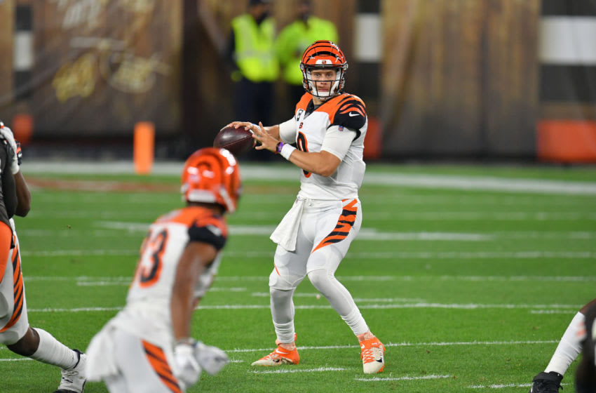 CLEVELAND, OHIO - SEPTEMBER 17: Quarterback Joe Burrow #9 passes to wide receiver Tyler Boyd #83 of the Cincinnati Bengals during the first half against the Cleveland Browns at FirstEnergy Stadium on September 17, 2020 in Cleveland, Ohio. The Browns defeated the Bengals 35-30. (Photo by Jason Miller/Getty Images)