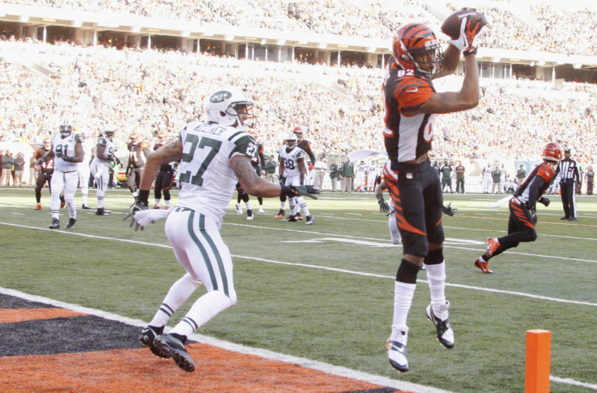 CINCINNATI, OH - OCTOBER 27: Marvin Jones #82 of the Cincinnati Bengals hauls in the touchdown pass during the game against the New York Jets at Paul Brown Stadium on October 27, 2013 in Cincinnati, Ohio. The Bengals defeated the Jets 49-9. (Photo by John Grieshop/Getty Images)