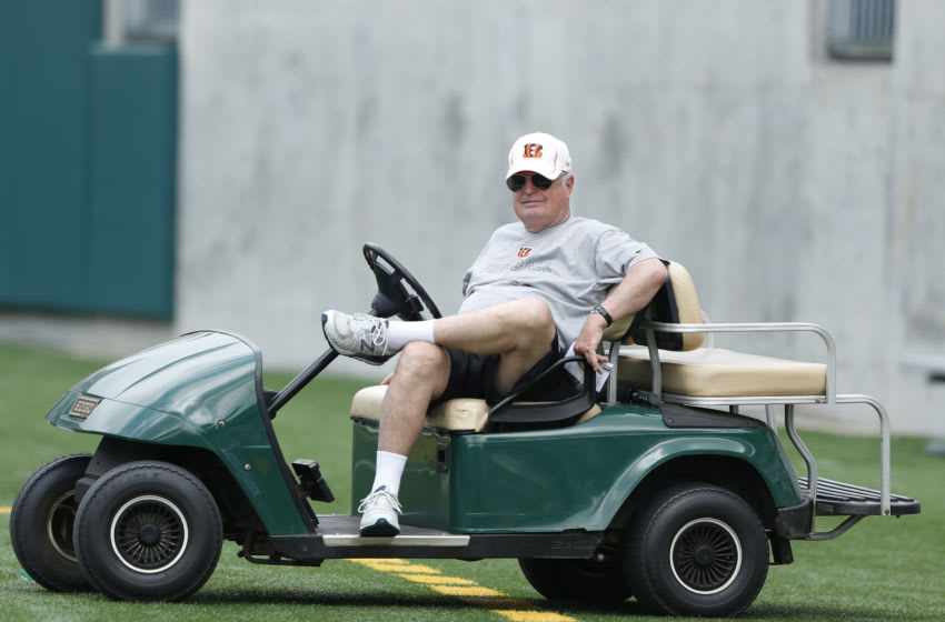 CINCINNATI, OH - JUNE 3: Cincinnati Bengals owner Mike Brown looks on during an organized team activity (OTA) workout at Paul Brown Stadium on June 3, 2014 in Cincinnati, Ohio. (Photo by Joe Robbins/Getty Images)