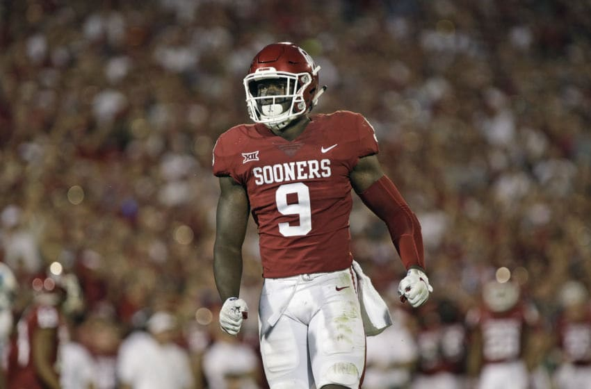 NORMAN, OK - SEPTEMBER 16: Linebacker Kenneth Murray #9 of the Oklahoma Sooners during the game against the Tulane Green Wave at Gaylord Family Oklahoma Memorial Stadium on September 16, 2017 in Norman, Oklahoma. Oklahoma defeated Tulane 56-14. (Photo by Brett Deering/Getty Images)