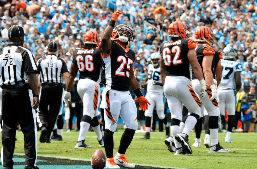 CHARLOTTE, NC - SEPTEMBER 23: Giovani Bernard #25 of the Cincinnati Bengals celebrates a touchdown against the Carolina Panthers in the first quarter during their game at Bank of America Stadium on September 23, 2018 in Charlotte, North Carolina. (Photo by Grant Halverson/Getty Images)