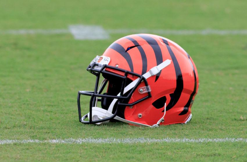 CINCINNATI, OHIO - AUGUST 12: A Cincinnati Bengals helmet on the field during the Bengals training camp at Paul Brown Stadium on August 12, 2019 in Cincinnati, Ohio. (Photo by Justin Casterline/Getty Images)