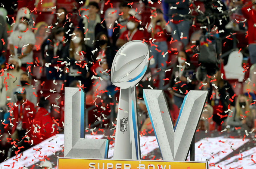 TAMPA, FLORIDA - FEBRUARY 07: The Super Bowl LV logo is seen at Raymond James Stadium on February 07, 2021 in Tampa, Florida. (Photo by Kevin C. Cox/Getty Images)