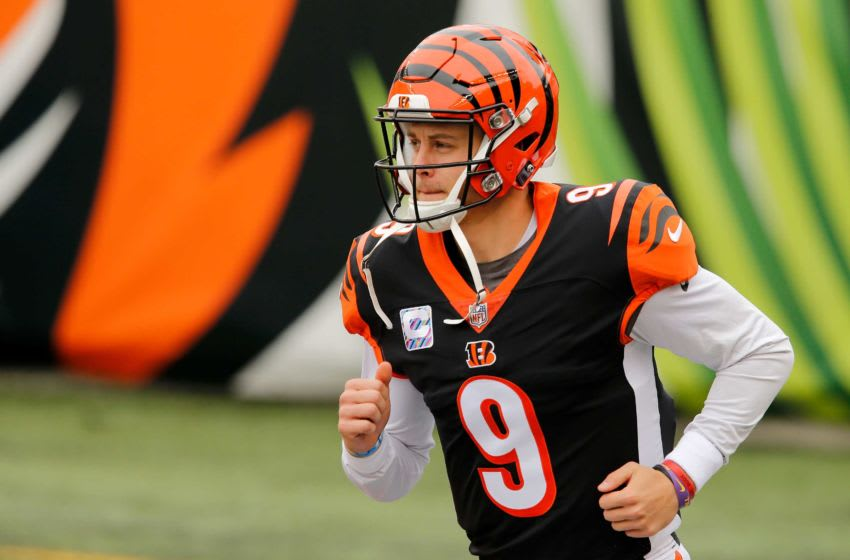 Cincinnati Bengals quarterback Joe Burrow (9) takes the field during introductions before the first quarter of the NFL Week 7 game between the Cincinnati Bengals and the Cleveland Browns at Paul Brown Stadium in downtown Cincinnati on Sunday, Oct. 25, 2020. The Bengals led 17-10 at halftime. Cleveland Browns At Cincinnati Bengals