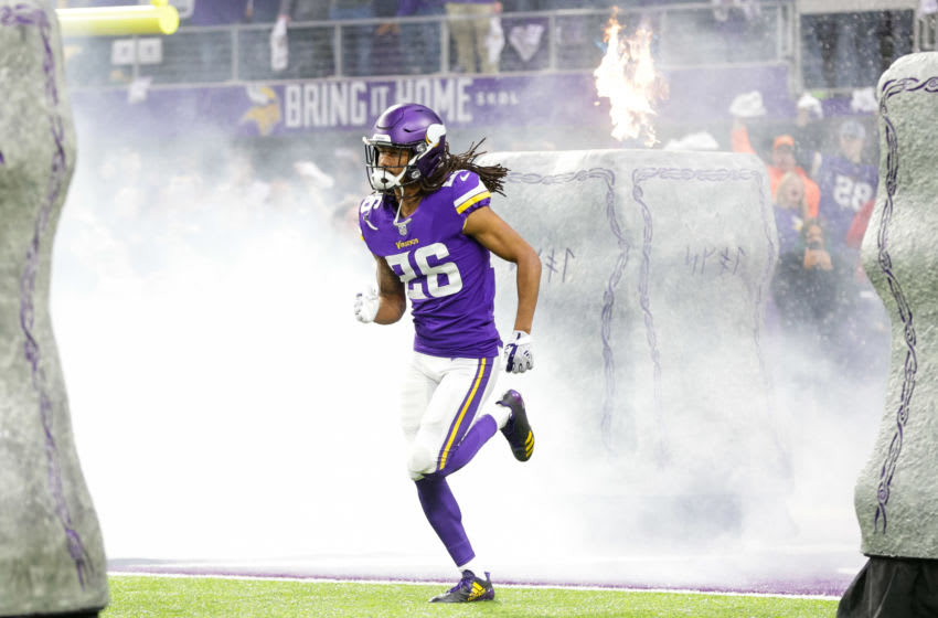 Jan 14, 2018; Minneapolis, MN, USA; Minnesota Vikings defensive back Trae Waynes (26) takes the field before the game against the New Orleans Saints at U.S. Bank Stadium. Mandatory Credit: Brad Rempel-USA TODAY Sports