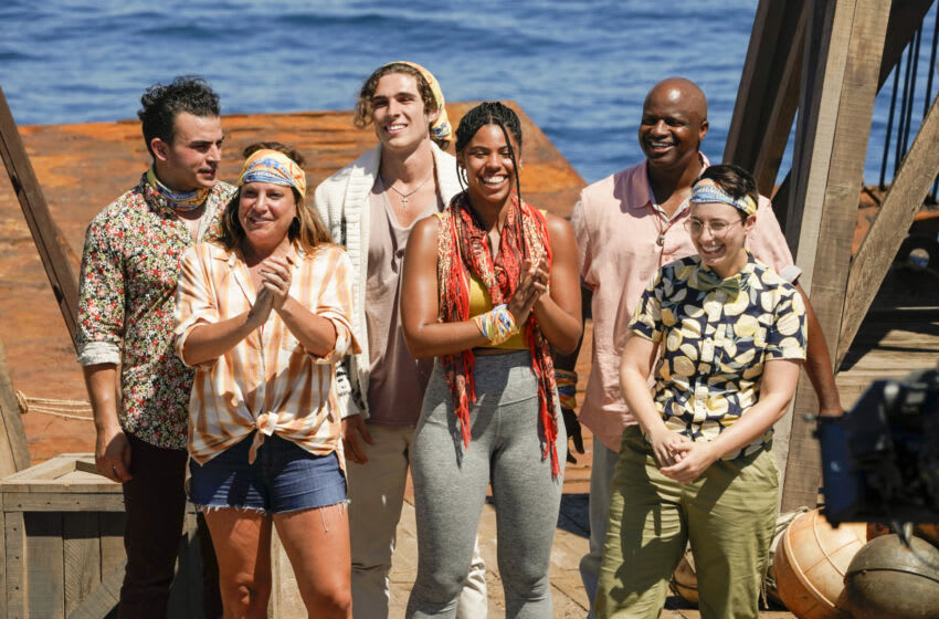 """""""A New Era"""" – David Voce, Tiffany Seely, Xander Hastings, Liana Wallace, Eric Abraham and Evvie Jagoda compete on SURVIVOR, when the Emmy Award-winning series returns for its 41st season, with a special 2-hour premiere, Wednesday, Sept. 22 (8:00-10:00 PM, ET/PT) on the CBS Television Network and available to stream live and on demand on Paramount+. Photo: Robert Voets/CBS Entertainment 2021 CBS Broadcasting, Inc. All Rights Reserved."""