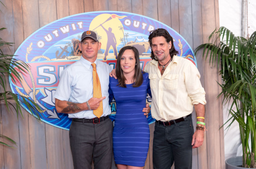 Survivor winner Sarah Lacina (C) and runner-ups Brad Culpepper (L) and Troyzan Robertson (R) attend the CBS'