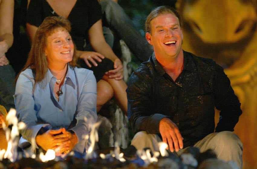LOS ANGELES - DECEMBER 12: Runner-up Twila Tanner and Survivor winner Chris Daugherty celebrate his winning Survivor Vanuatu Islands of Fire and $1,000,000 at CBS Television City on December 12, 2004 in Los Angeles, California. (Photo by Frederick M. Brown/Getty Images)