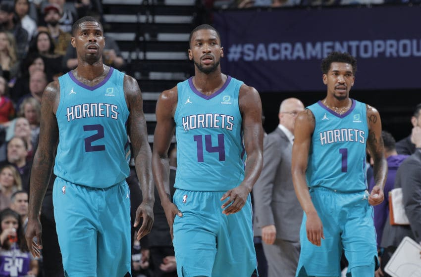 Charlotte Hornets Marvin Williams, Michael Kidd-Gilchrist and Malik Monk (Photo by Rocky Widner/NBAE via Getty Images)