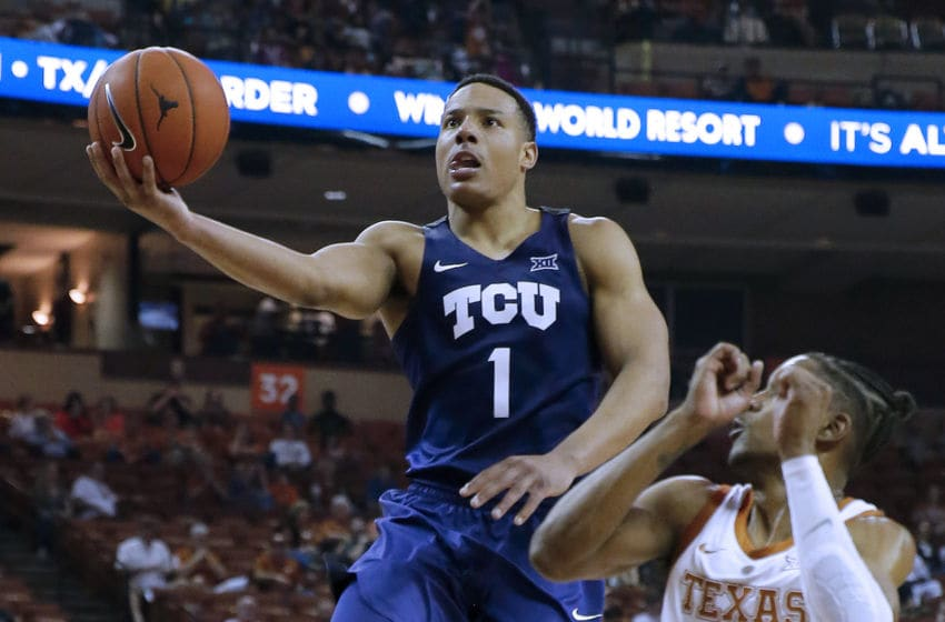 AUSTIN, TEXAS - MARCH 09: Desmond Bane #1 of the TCU Horned Frogs shoots over Jase Febres #13 of the Texas Longhorns at The Frank Erwin Center on March 09, 2019 in Austin, Texas. (Photo by Chris Covatta/Getty Images)