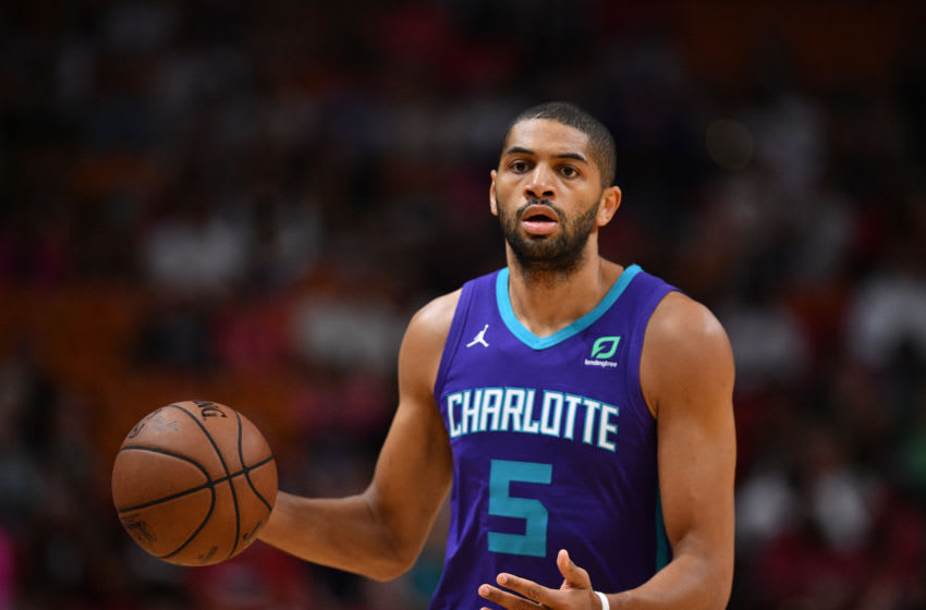 MIAMI, FL - MARCH 17: Nicolas Batum #5 of the Charlotte Hornets in action against the Miami Heat at American Airlines Arena on March 17, 2019 in Miami, Florida. NOTE TO USER: User expressly acknowledges and agrees that, by downloading and or using this photograph, User is consenting to the terms and conditions of the Getty Images License Agreement. (Photo by Mark Brown/Getty Images)