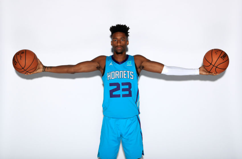 CHARLOTTE, NORTH CAROLINA - SEPTEMBER 30: Kobi Simmons #23 of the Charlotte Hornets poses for a portrait during Charlotte Hornets Media Day at Spectrum Center on September 30, 2019 in Charlotte, North Carolina. NOTE TO USER: User expressly acknowledges and agrees that, by downloading and or using this photograph, User is consenting to the terms and conditions of the Getty Images License Agreement. (Photo by Streeter Lecka/Getty Images)