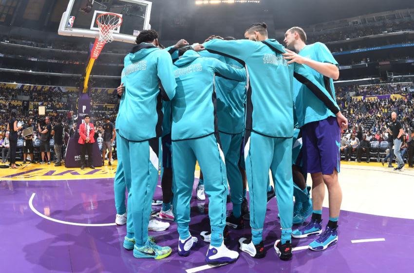 Charlotte Hornets huddle (Photo by Andrew D. Bernstein/NBAE via Getty Images)