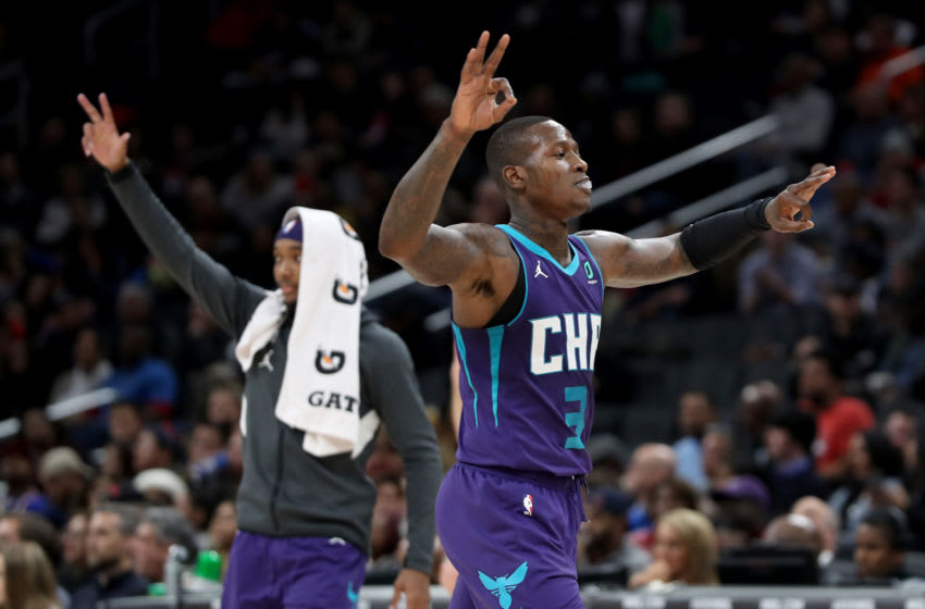 Charlotte Hornets Terry Rozier celebrates after win.(Photo by Rob Carr/Getty Images)