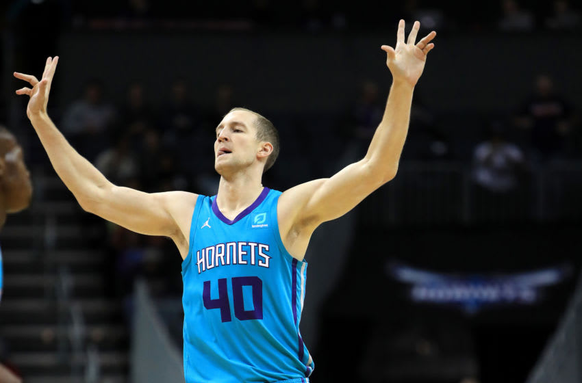 CHARLOTTE, NORTH CAROLINA - DECEMBER 10: Cody Zeller #40 of the Charlotte Hornets reacts after a play against the Washington Wizards during their game at Spectrum Center on December 10, 2019 in Charlotte, North Carolina. NOTE TO USER: User expressly acknowledges and agrees that, by downloading and or using this photograph, User is consenting to the terms and conditions of the Getty Images License Agreement. (Photo by Streeter Lecka/Getty Images)