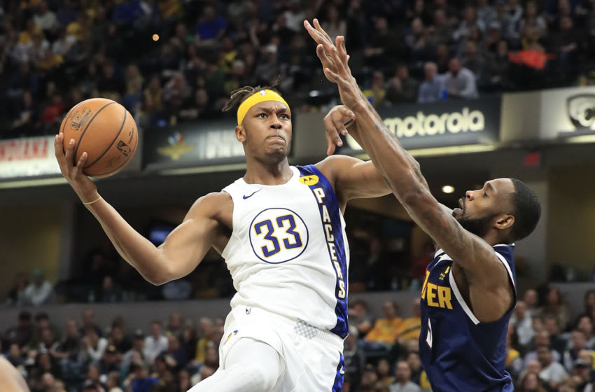 INDIANAPOLIS, INDIANA - JANUARY 02: Myles Turner #33 of the Indiana Pacers during the game against the Denver Nuggets at Bankers Life Fieldhouse on January 02, 2020 in Indianapolis, Indiana. NOTE TO USER: User expressly acknowledges and agrees that, by downloading and or using this photograph, User is consenting to the terms and conditions of the Getty Images License Agreement. (Photo by Andy Lyons/Getty Images)