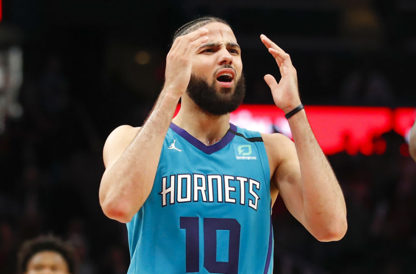 ATLANTA, GA - MARCH 09: Caleb Martin #10 of the Charlotte Hornets reacts after being called for a foul during the second half of an NBA game against the Atlanta Hawks at State Farm Arena on March 9, 2020 in Atlanta, Georgia. NOTE TO USER: User expressly acknowledges and agrees that, by downloading and/or using this photograph, user is consenting to the terms and conditions of the Getty Images License Agreement. (Photo by Todd Kirkland/Getty Images)
