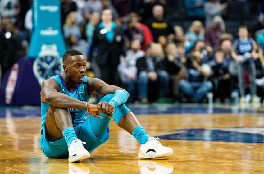 CHARLOTTE, NORTH CAROLINA - MARCH 05: Terry Rozier #3 of the Charlotte Hornets after missing a potentially game winning shot in the final seconds of the fourth quarter during their game against the Denver Nuggets at Spectrum Center on March 05, 2020 in Charlotte, North Carolina. NOTE TO USER: User expressly acknowledges and agrees that, by downloading and/or using this photograph, user is consenting to the terms and conditions of the Getty Images License Agreement. (Photo by Jacob Kupferman/Getty Images)