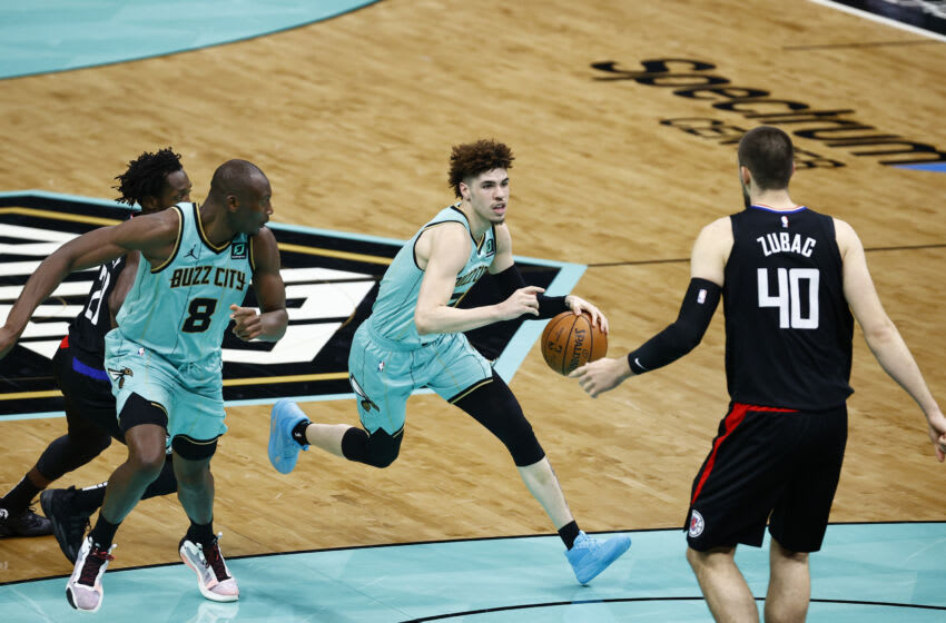 CHARLOTTE, NORTH CAROLINA - MAY 13: LaMelo Ball #2 of the Charlotte Hornets. (Photo by Jared C. Tilton/Getty Images)