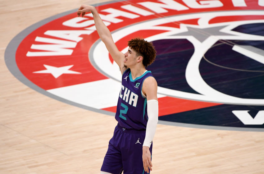 WASHINGTON, DC - MAY 16: LaMelo Ball #2 of the Charlotte Hornets reacts after a shot against the Washington Wizards during the second half at Capital One Arena on May 16, 2021 in Washington, DC. NOTE TO USER: User expressly acknowledges and agrees that, by downloading and or using this photograph, User is consenting to the terms and conditions of the Getty Images License Agreement. (Photo by Will Newton/Getty Images)