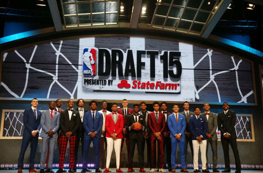 NEW YORK, NY - JUNE 25: The top prospects pose for a group photo before the start of the First Round of the 2015 NBA Draft at the Barclays Center on June 25, 2015 in the Brooklyn borough of New York City. NOTE TO USER: User expressly acknowledges and agrees that, by downloading and or using this photograph, User is consenting to the terms and conditions of the Getty Images License Agreement. (Photo by Elsa/Getty Images)