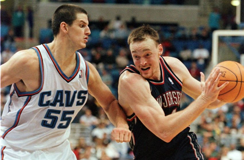 Cleveland Cavaliers Andrew DeClercq #55.(Photo credit should read DAVID MAXWELL/AFP via Getty Images)