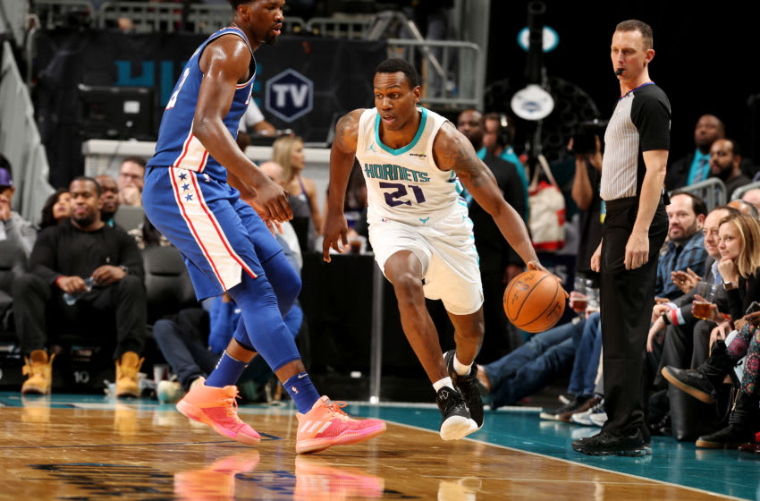 CHARLOTTE, NC - MARCH 6: Treveon Graham #21 of the Charlotte Hornets handles the ball during the game against the Philadelphia 76ers on March 6, 2018 at Spectrum Center in Charlotte, North Carolina. NOTE TO USER: User expressly acknowledges and agrees that, by downloading and or using this photograph, User is consenting to the terms and conditions of the Getty Images License Agreement. Mandatory Copyright Notice: Copyright 2018 NBAE (Photo by Kent Smith/NBAE via Getty Images)